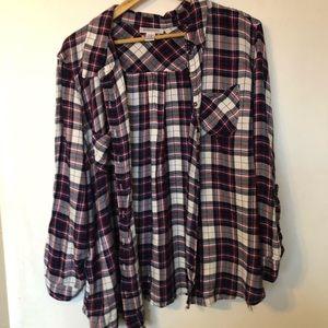 Motherhood Plaid Shirt Lace Detail Size 1X